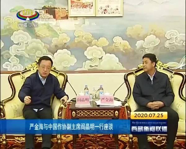 严金海与中国作协副主席阎晶明一行座谈