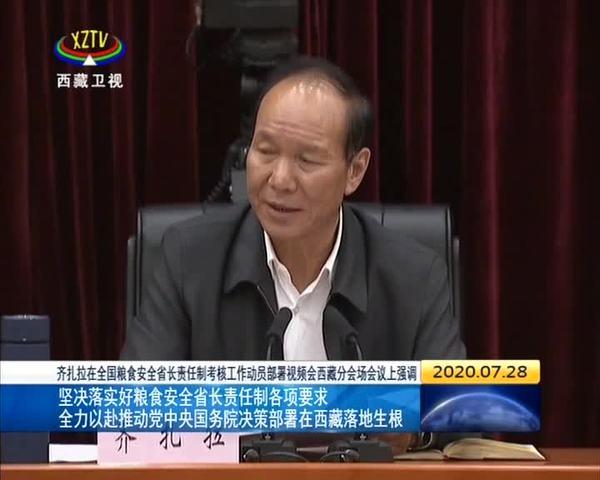 齐扎拉主持召开全国粮食安全省长责任制考核工作动员部署视频会西藏分会场会议