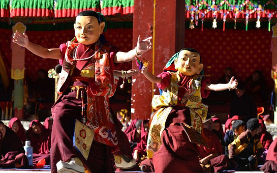 西藏扎什伦布寺举行一年一度的跳神活动