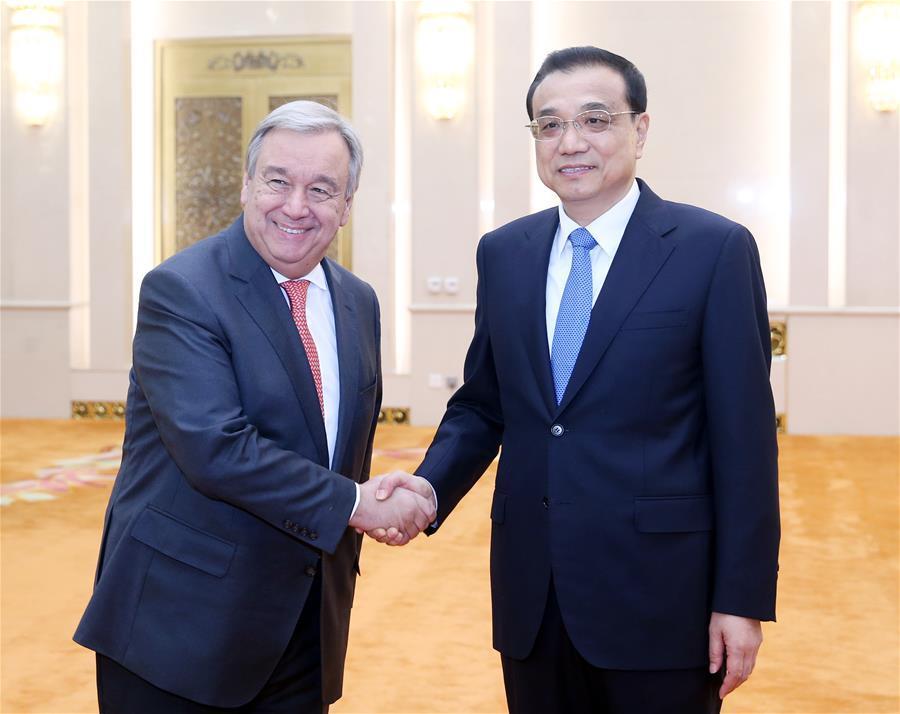 President Xi, Premier Li meet with Antonio Guterres in Beijing
