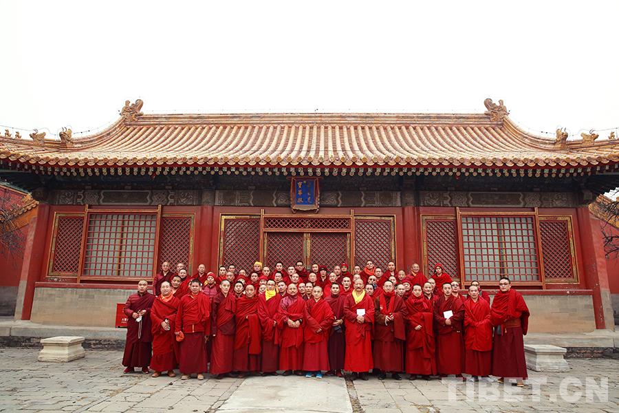Tibetische Mönche haben Unterricht in der Verbotene Stadt