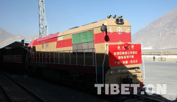 The first China-South Asia freight train arrives in Tibet