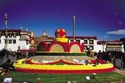 喜迎春节藏历新年 拉萨市内花雕景观惹人爱