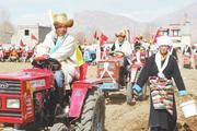 拉萨林周县迎来一年一度的传统春耕春播仪式