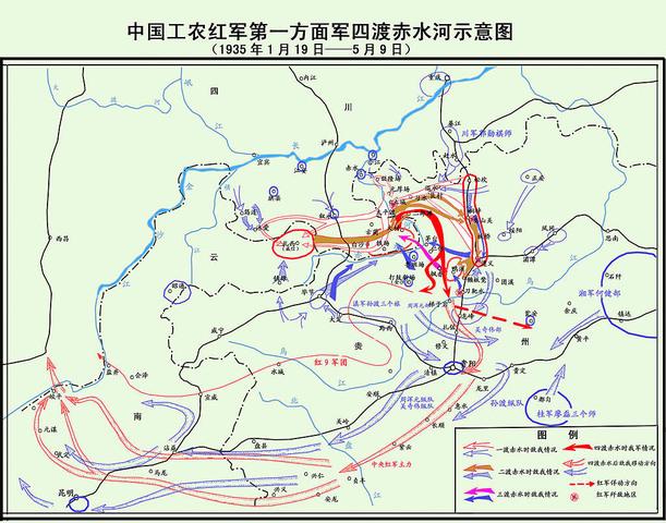 军四渡赤水河示意图