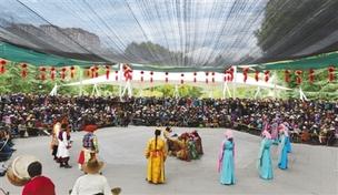 拉萨市宗角禄康公园内藏戏演员们正在表演