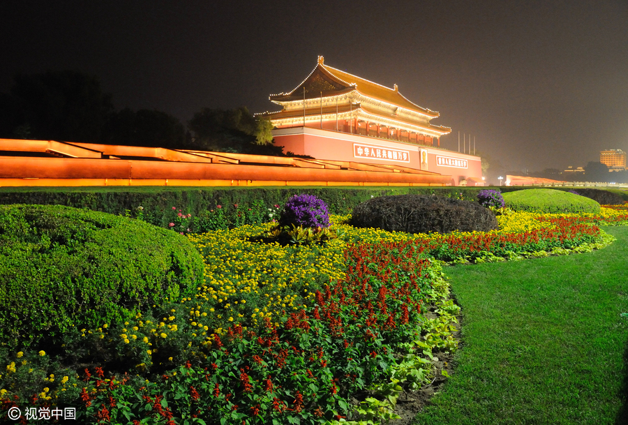 Tian'anmen Square decorated as National Day holiday approaches
