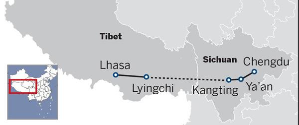 Sichuan-Tibet Railway extending to plateau