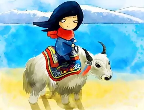 Cartoon illustrations of life in Tibet
