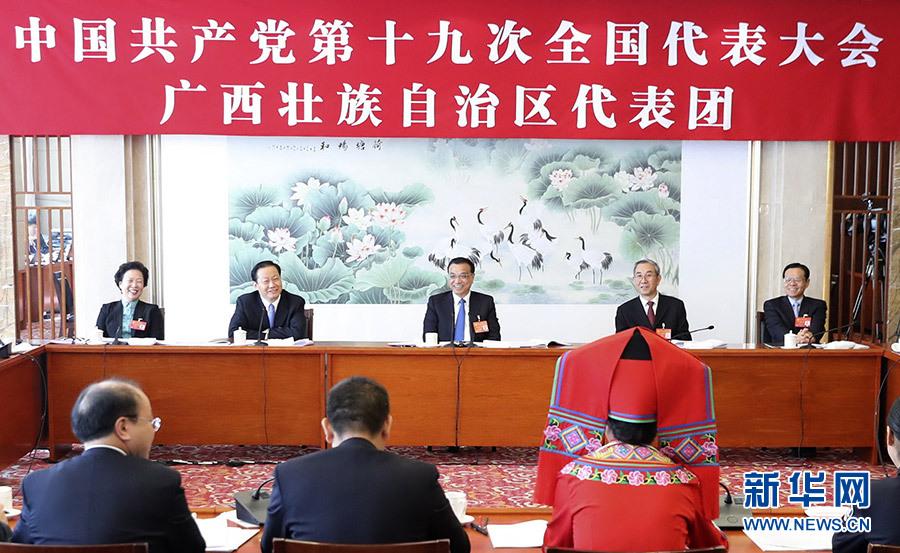 李克强参加党的十九大广西壮族自治区代表团讨论