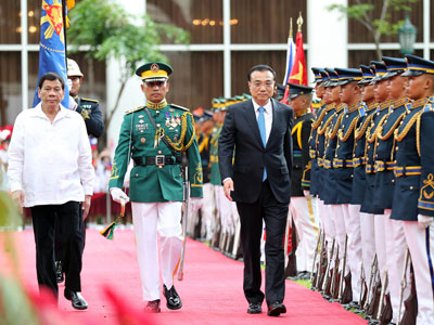 Li Keqiang trifft Präsidenten der Philippinen Rodrigo Duterte