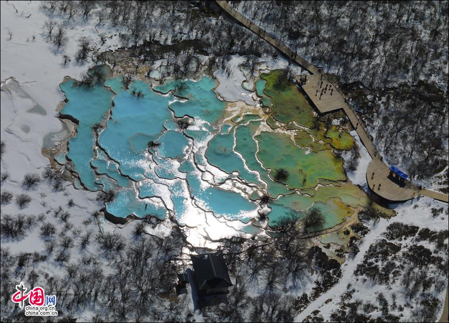 Atemberaubende Winterlandschaft von Huanglong