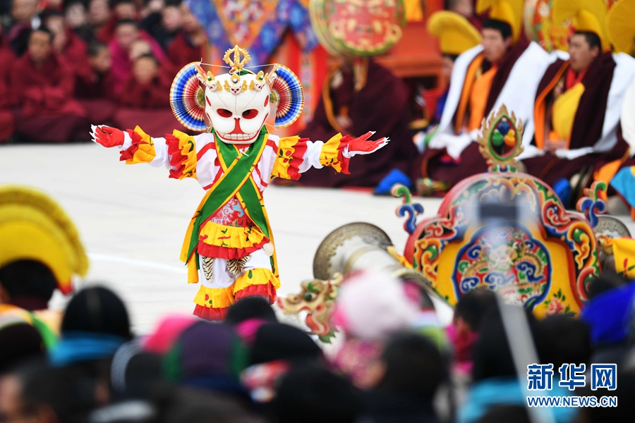Religious dance performed in Labrang Monastery, Gansu