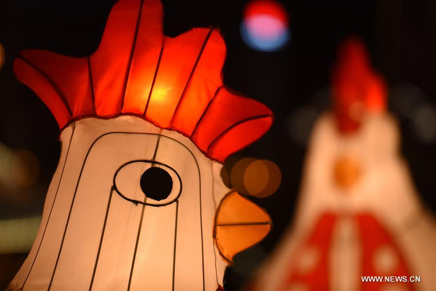 Lanterns in shape of rooster seen in NW China