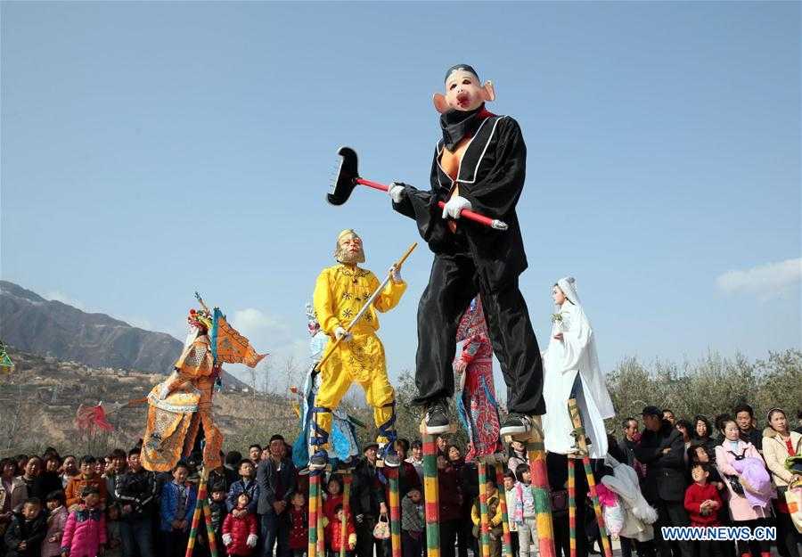 Shehuo performed to mark Spring Festival in China's Gansu