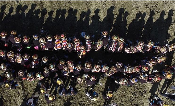 Tibets Frühlings-Pflügen aus der Vogelperspektive