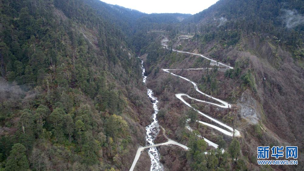 Aerial view of Medog highway in Tibet