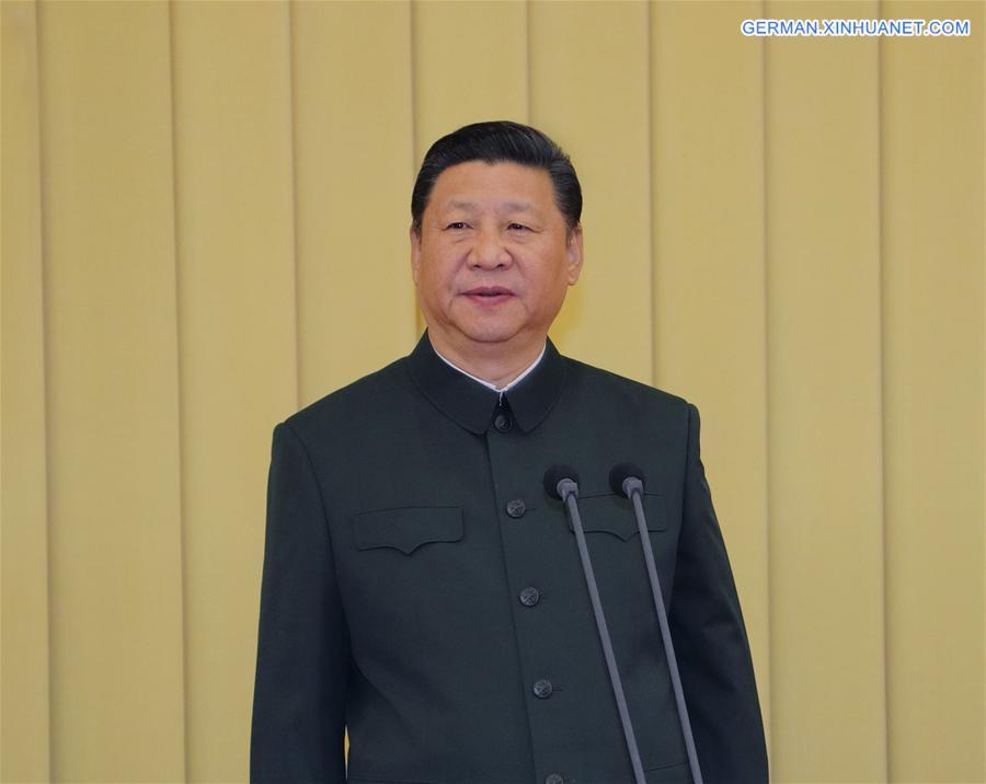 Xi trifft leitende Militäroffiziere der neu angepassten oder errichteten Korps-Ebene militärischer Einheiten