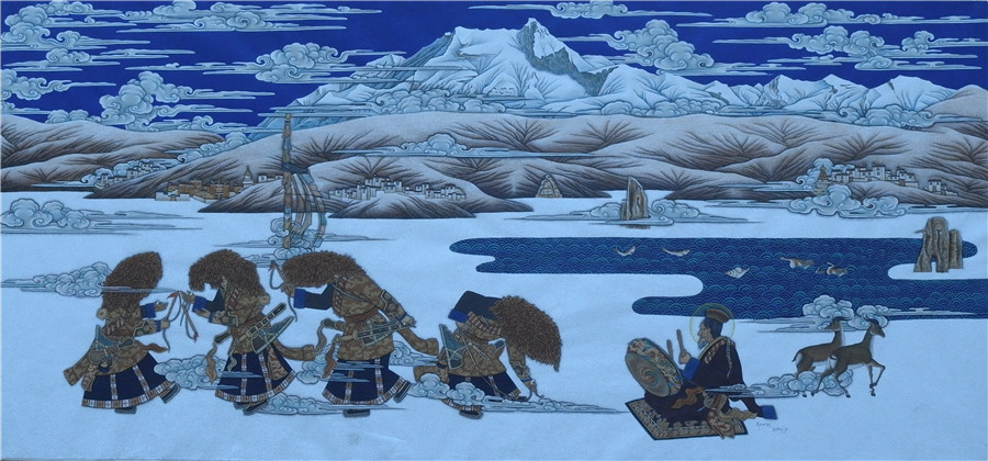 Contemporary Tibetan-styled oil painting exhibition held in Lhasa