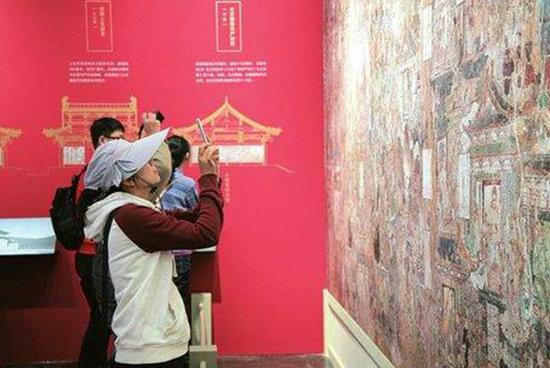 Ausstellung der Wandgemälde des Kaihua-Klosters in Uni Peking
