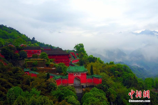 An aerial view of Wudang Mountain: holy land of Taoist