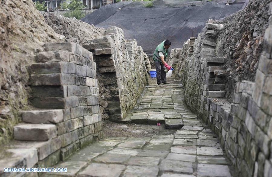 Für Jahrtausende verschwundener Tempel Fugan in Chengdu ausgegraben