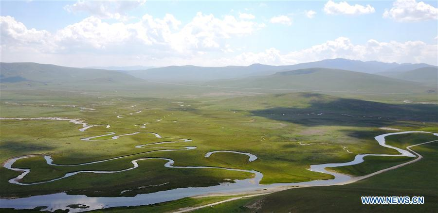 Scenery of Guomang wetland in Gansu
