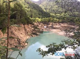 美景不再!九寨沟火花海震出缺口 海子水量基本排空