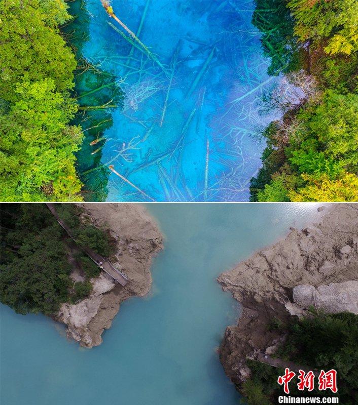Naturschutzgebiet Jiuzhaigou vor und nach dem Erdbeben aus der Luft