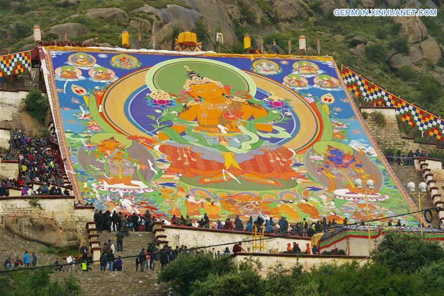 Shoton-Festival in Lhasa abgehalten