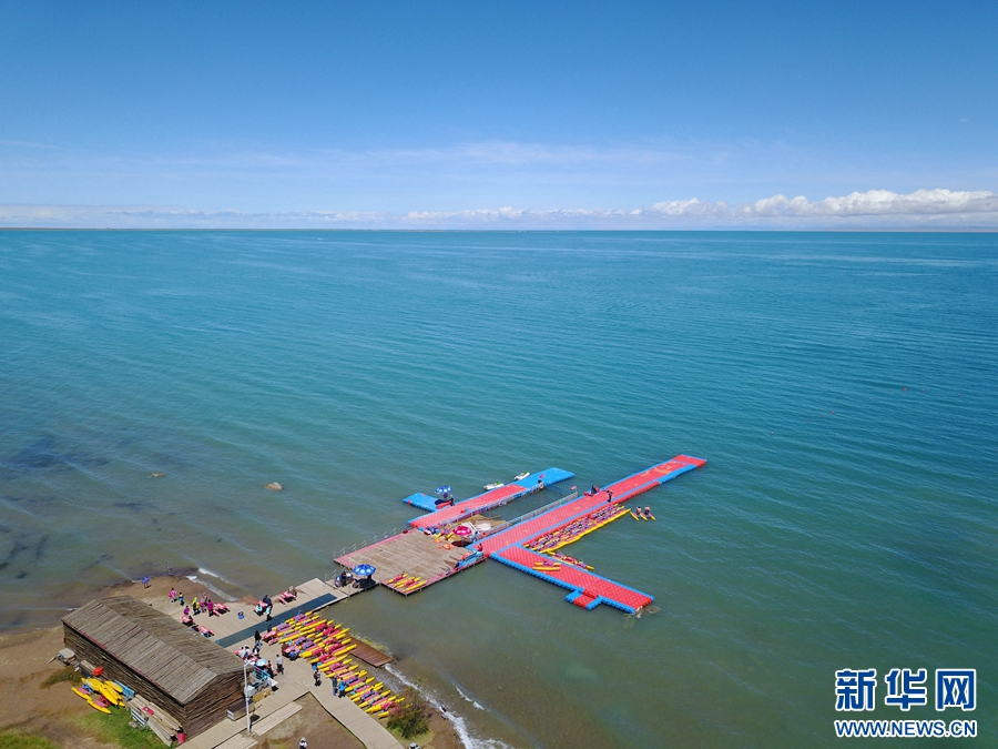 Aerial view of Qinghai Lake