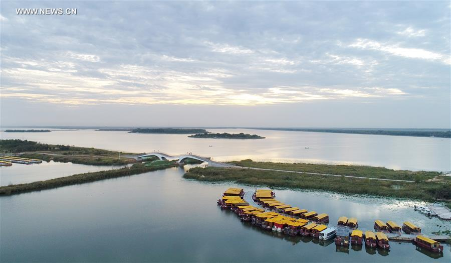 Feuchtgebietpark im Naturreservat des Hengshui-Sees in Nordchina