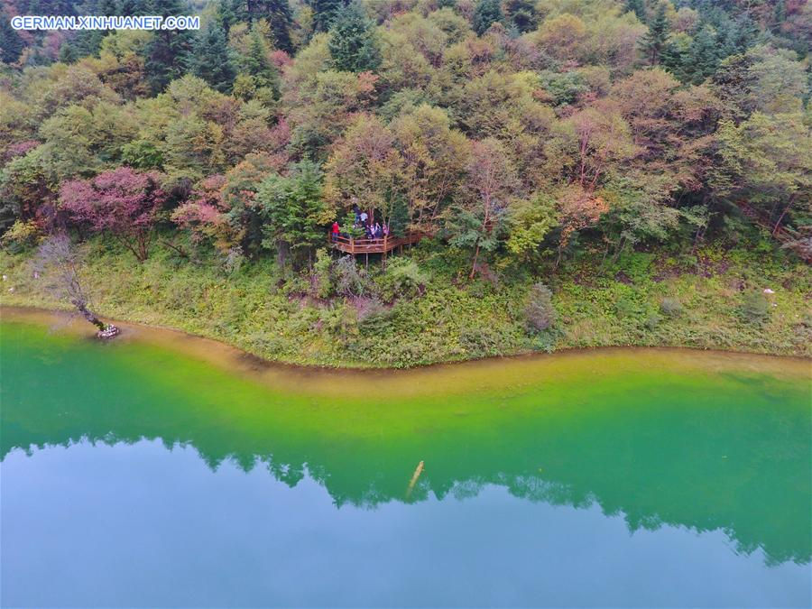 Landschaft von Guanegou National Forest Park in Gansu