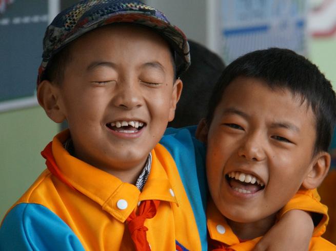 Lächelnde Gesichter in Lhasa