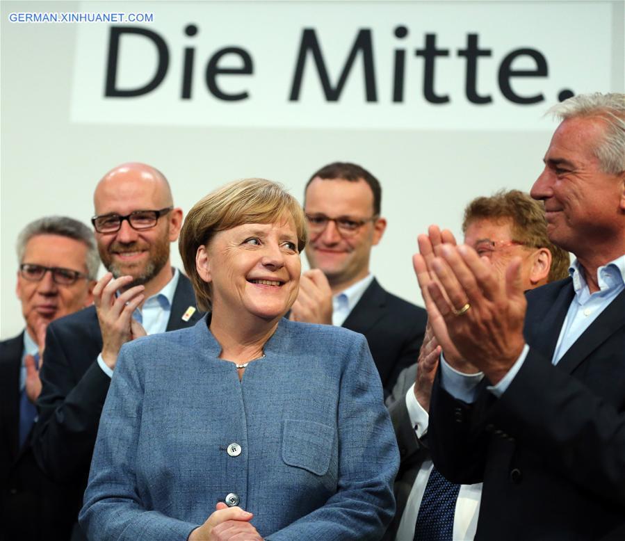 Die von Merkel geführte CDU erzielt die meisten Stimmen bei der deutschen Bundestagswahl