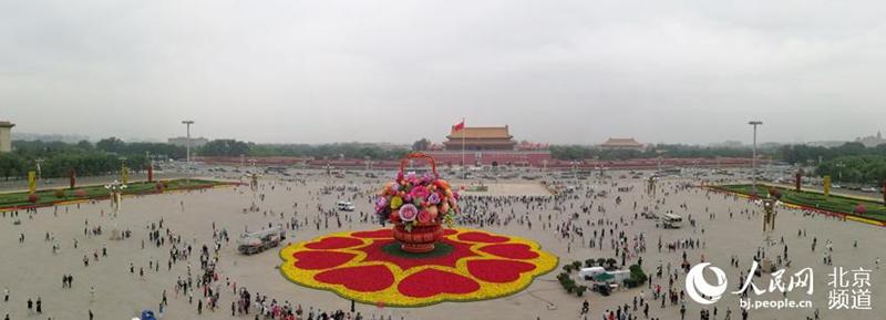 Nationalfeiertag: Riesiges Blumenbeet auf dem Tiananmen-Platz