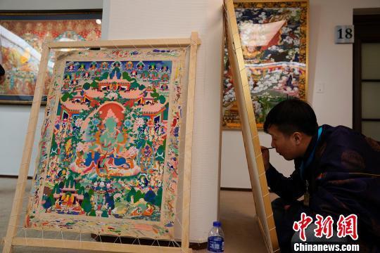 Thangka aus Qinghai in Beijing ausgestellt