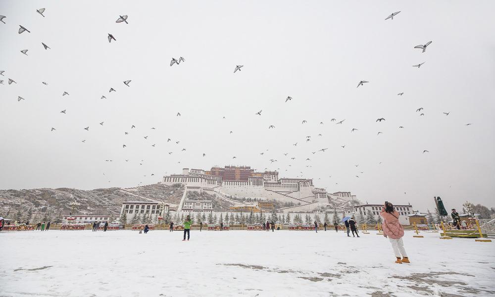 银装素裹,拉萨迎冬日首场降雪