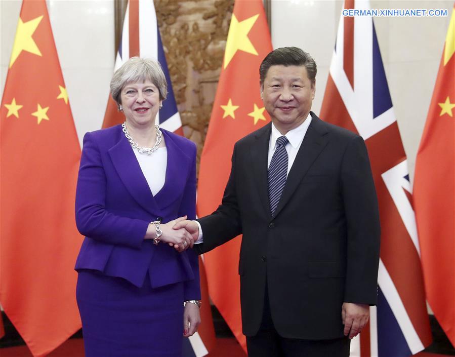 Xi Jinping trifft britische Premierministerin May in Beijing