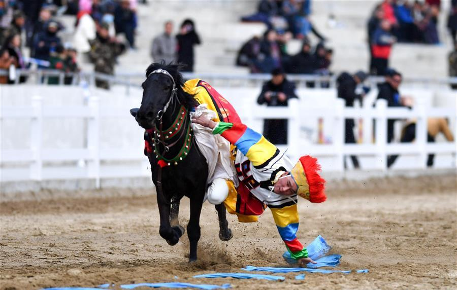 Traditional equestrian performance held to celebrate New Year
