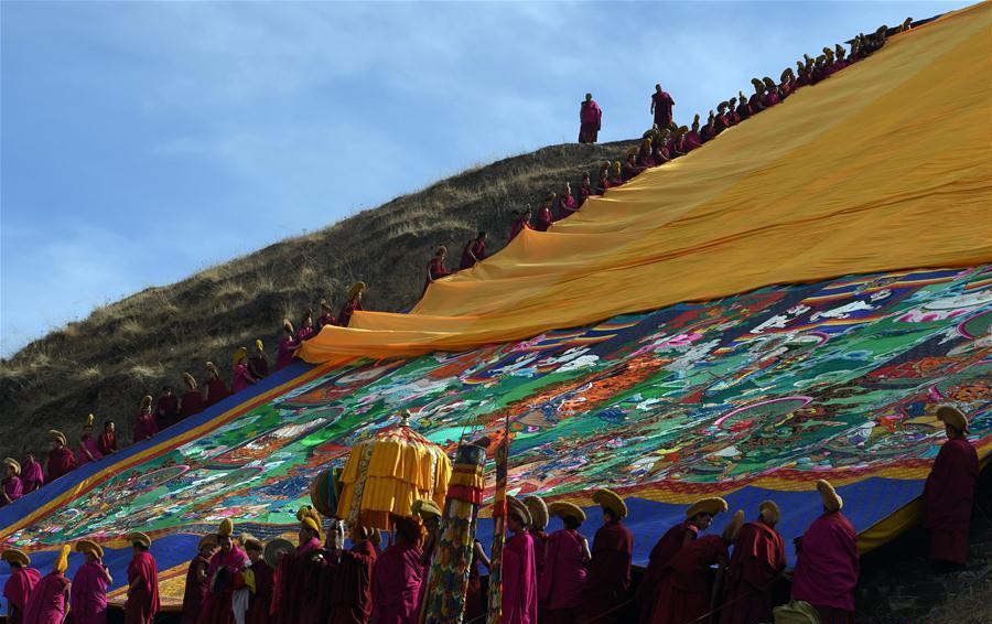Labrang Monastery holds annual display of Buddha thangka