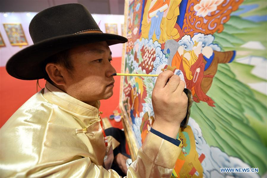 Thangka paintings displayed at art collection expo in Lanzhou, NW China's Gansu