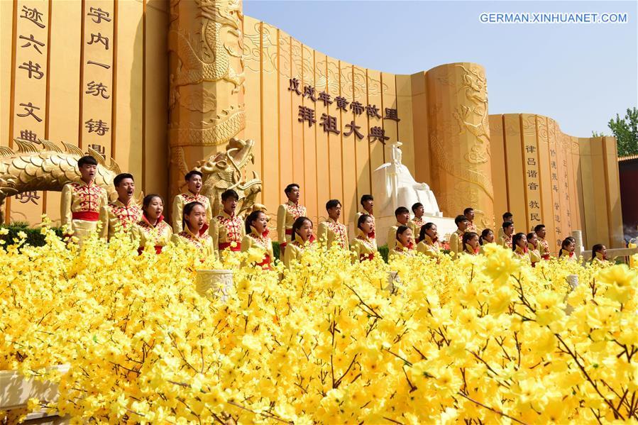 Verehrungszeremonie zur Markierung des legendären Vorfahrens des Landes Huangdi abgehalten