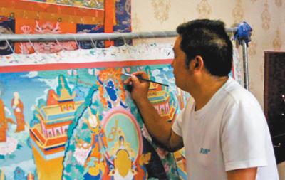Thangka-Maler Sangji Dongzhi: Pinsel wirken Wunder
