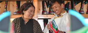 Tibetische Stiefel in Bainang