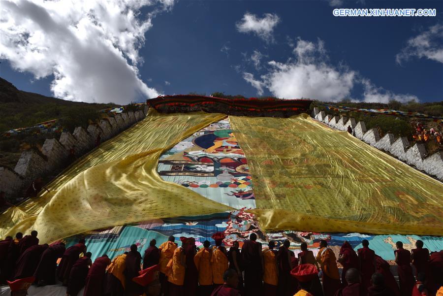 Jährliches Buddha Thangka-Ritual veranstaltet