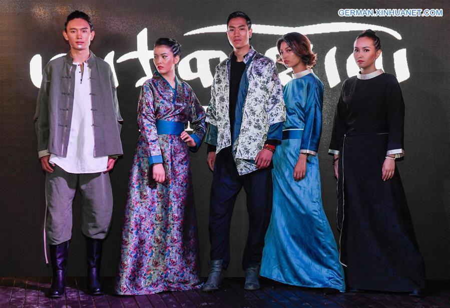 Fashionshow von AJ-NAMO in Lhasa veranstaltet