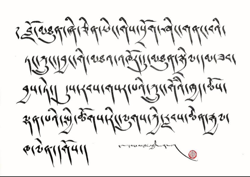 【图集】西藏拉孜:藏文书法爱好者挥毫纪念西藏百万农奴翻身得解放