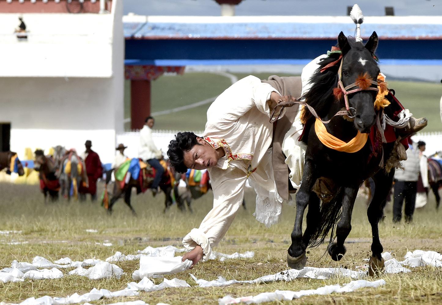 西藏那曲:马背上的绝技