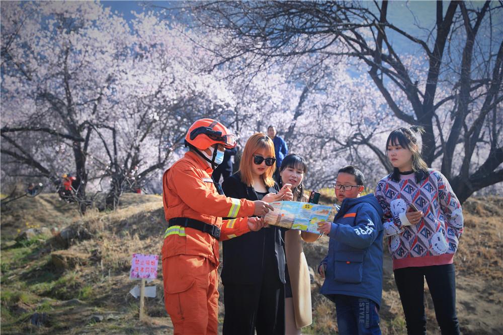 西藏林芝:桃花林中说防火